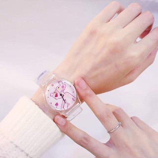 (ngẫu nhiên) Đồng hồ siêu cá tính thời trang nữ Unisex dây nhựa trong S5u3
