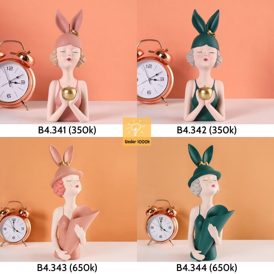 Tượng trang trí - tượng decor - hình cô gái đội mũ tai thỏ cực xinh xắn - màu xanh và hồng