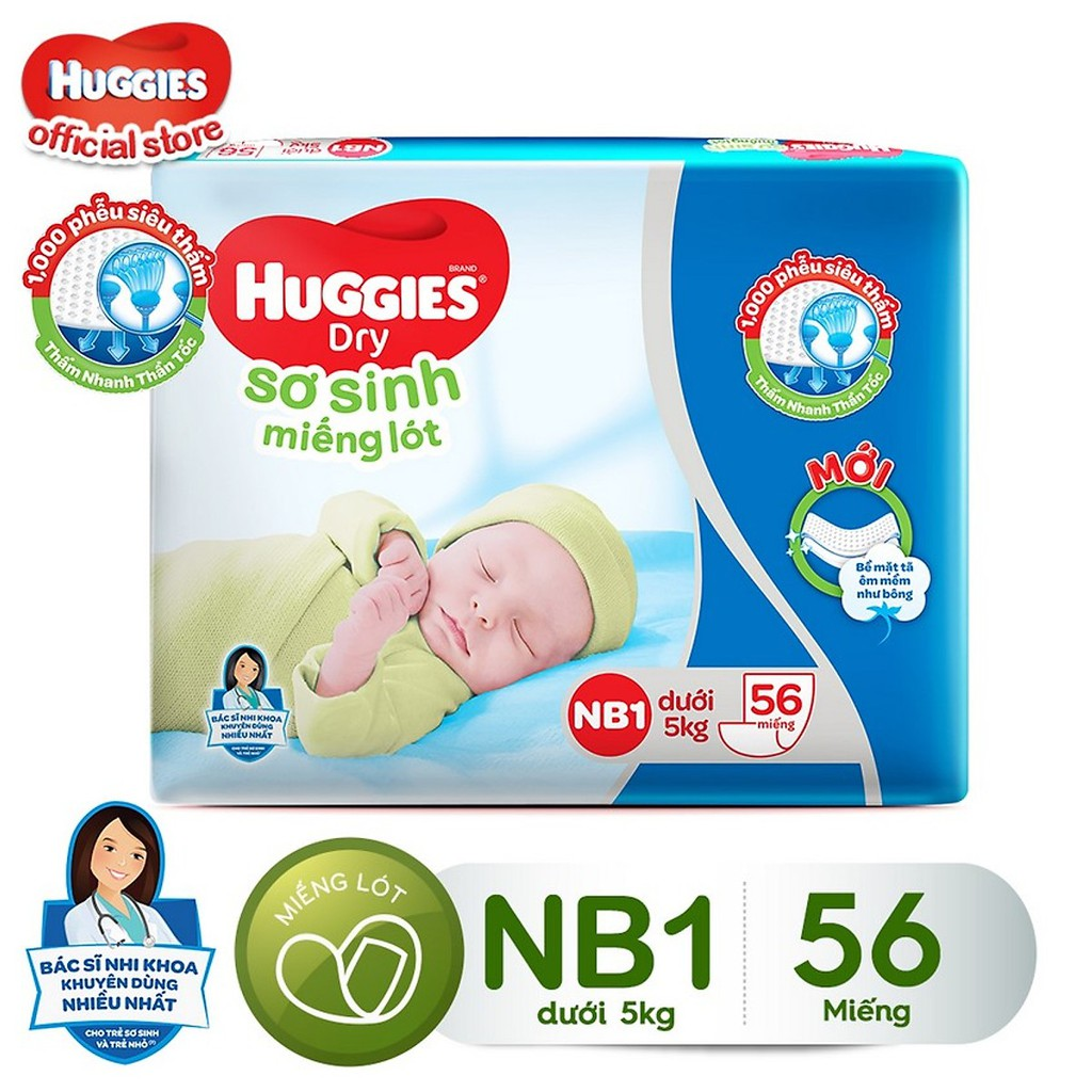 Miếng lót sơ sinh HUGGIES NB1 56 miếng , NB2 40 miếng – HSD luôn mới
