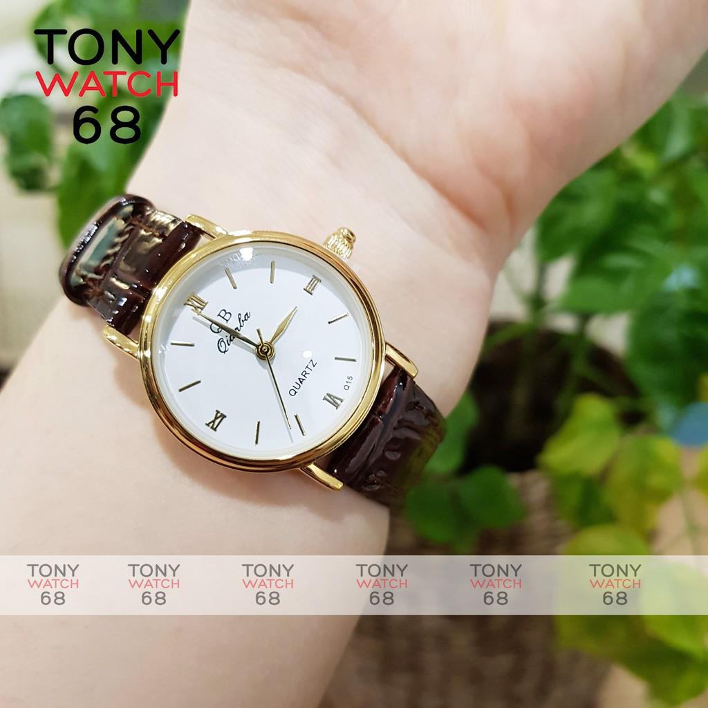 Đồng hồ nữ QB dây da mặt tròn mini số la mã cổ điển sang trọng chống nước chính hãng Tony Watch 68