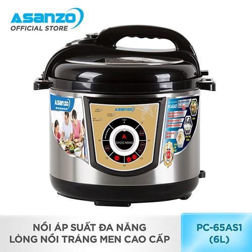 [Nhập ASANZOT7 giảm 10%] Nồi áp suất đa năng, lòng nồi tráng men cao cấp Asanzo PC-65AS1 (6 lít)