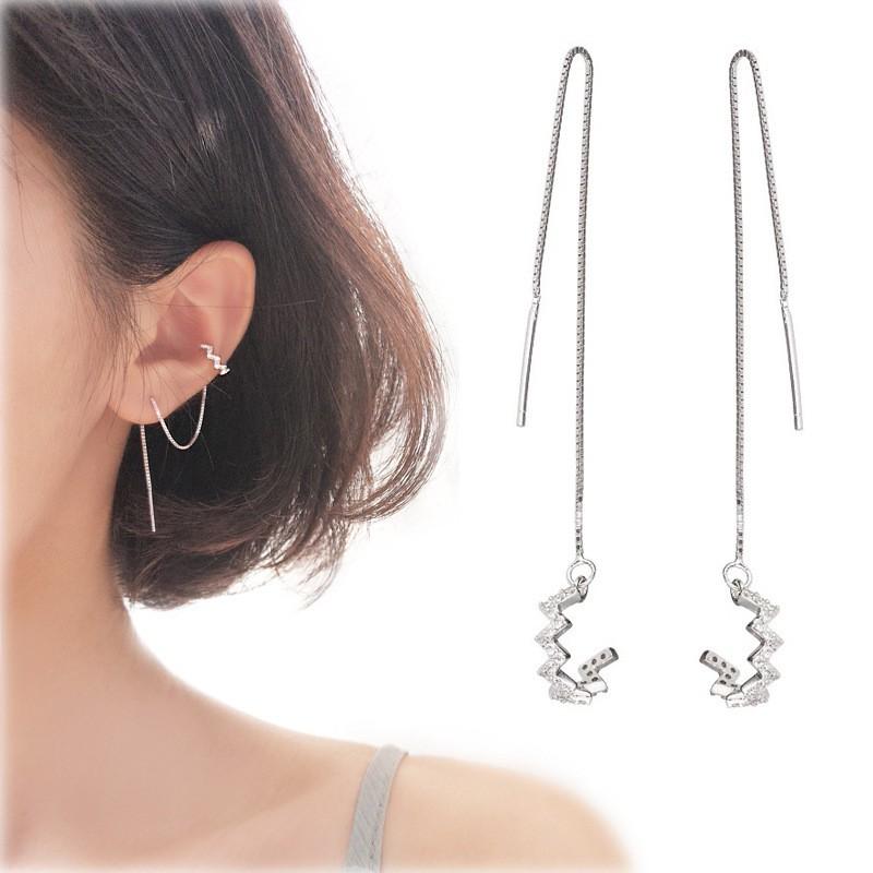 Khuyên tai bông tai 🍀Freeship Hoàn xu bạc nữ kẹp vành đính đá dây xỏ dài