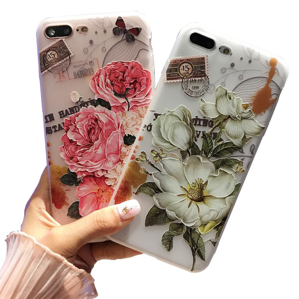 GNC|iPhone XR XS Max Ốp lưng nhựa nhiệt dẻo cho iPhone X 5 5s SE 6s 6 7 8 Plus Peony Floral 3D Soft TPU Case Back Cover