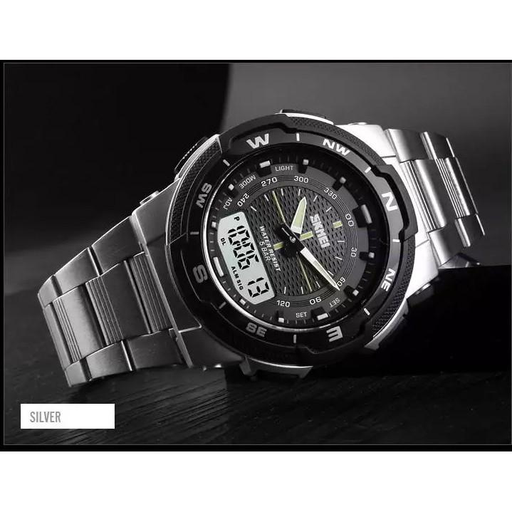 Đồng hồ thể thao SKMEI 1370 cho nam, đồng hồ đeo tay điện tử đa năng bằng thép không gỉ chống nước thời trang