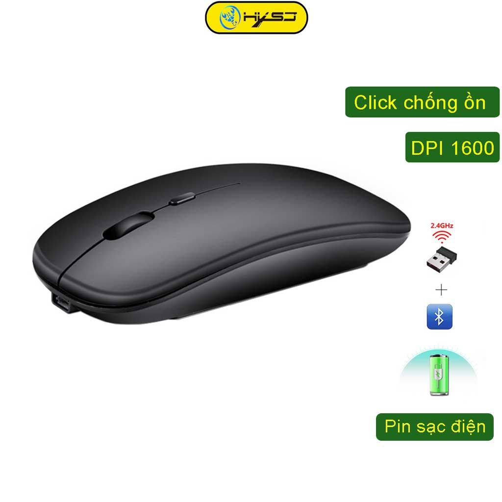 Chuột không dây Bluetooth wireless USB tự sạc pin HXSJ M90 siêu mỏng, chống ồn chuyên dùng cho macbook, laptop, pc, tivi