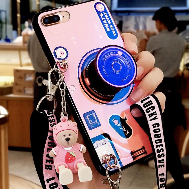 Ốp điện thoại chống rớt in hình máy ảnh có dây đeo cho Samsung