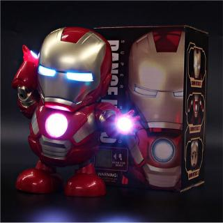 Dance Iron Man Action Figure Toy LED Flashlight with Sound Avengers Iron Man Hero Electronic Toy