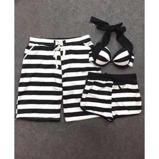 Set quần đôi nam nữ đi biển sọc đen trắng chất thun mát