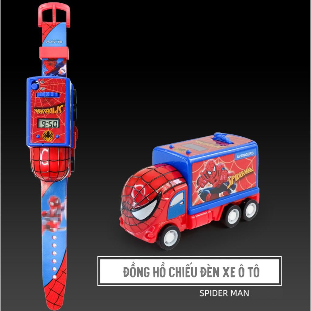 (CÓ ĐÈN CHIẾU) (HCM) Đồng hồ đeo tay bé trai xe ô tô siêu nhân 3in1 chiếu hình kiêm đồng hồ và xe đồ chơi phong cách