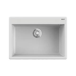 Chậu rửa bát đá KONOX Granite Series Ruvita 680 White Silver, Made in Italy, Full set gồm Siphon + Giá úp bát inox