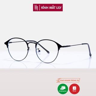 Gọng kính cận nữ Lilyeyewear kim loại, mắt tròn, nhiều màu sắc lựa chọn - 9180