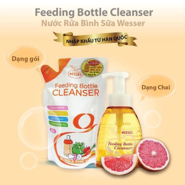 Nước Rửa Bình Sữa Wesser Chai/Gói 500ml (Nhập khẩu Hàn Quôc