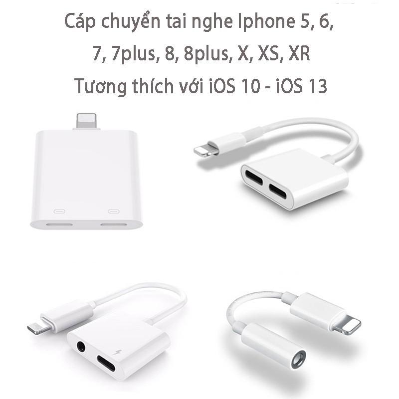 Cáp chuyển tai nghe IPhone 2 trong 1 ra jack 3.5 kèm cổng sạc iPhone 7/7plus/8/8plus/X/XS/XR