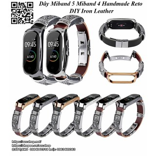 Dây Miband 5 Miband 4 Handmade Reto DIY Iron Leather