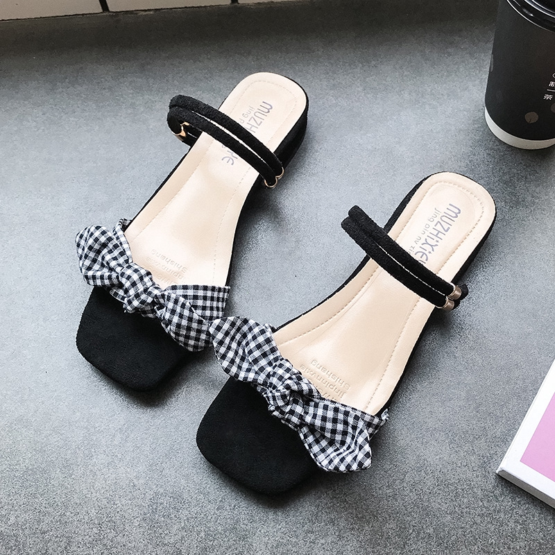 ♙Slipper sandals two shoes wearing women's 2019 new skirt skates summer hundred with gentle fairy wind low heels