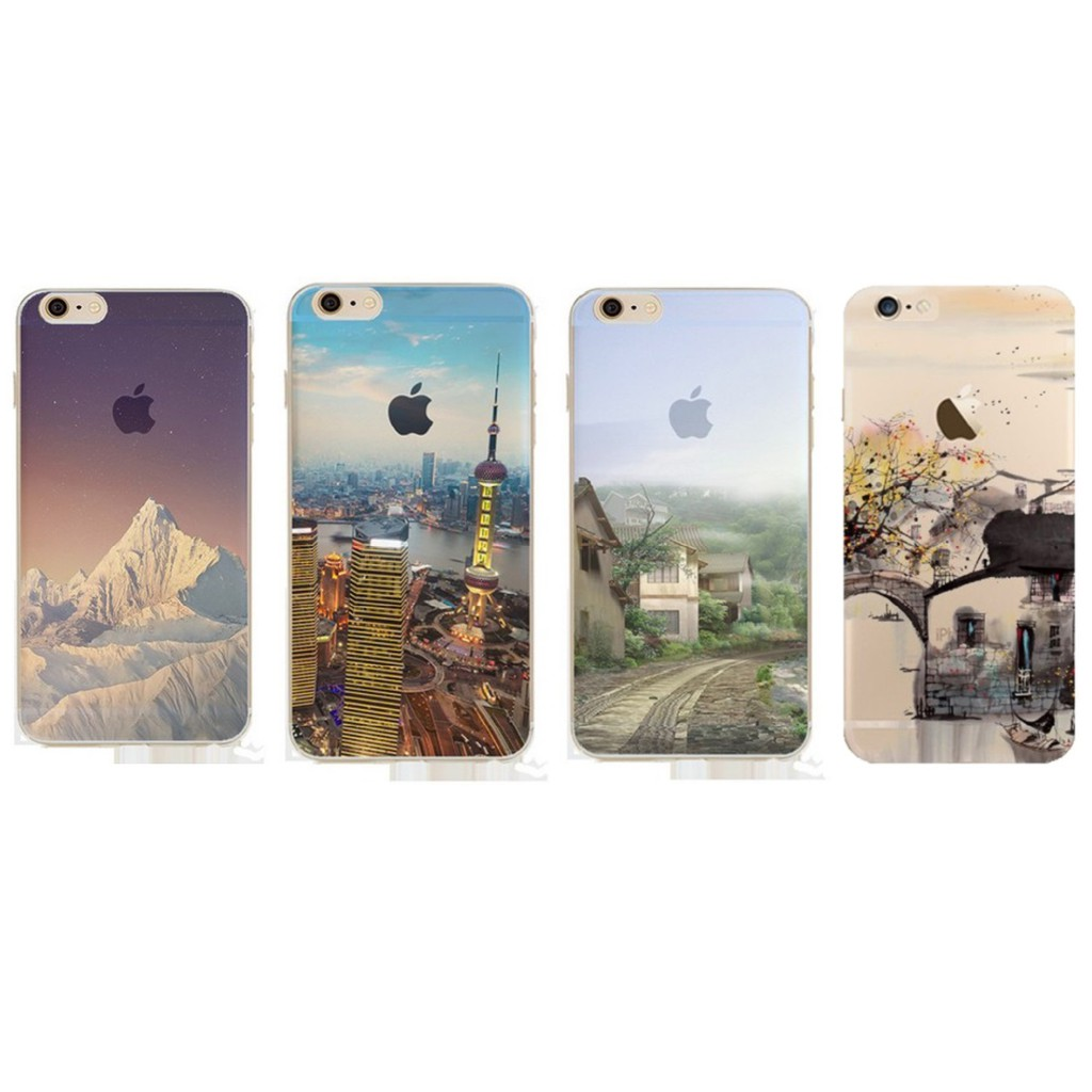 Ốp iPhone dẻo silicon táo mờ Phong cảnh đẹp núi, quê hương, tranh vẽ, tòa nhà