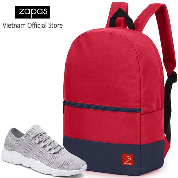 Combo Balo Du Lịch Glado Classical BLL007 (Đỏ Phối Xanh) Và Giày Sneaker Thể Thao Zapas GS081 (Xám)