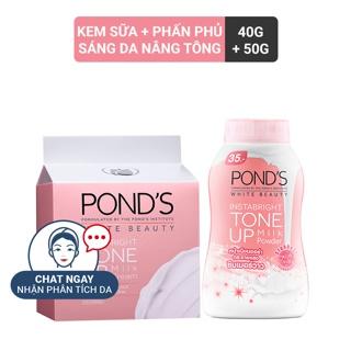 Combo Kem sữa dưỡng trắng nâng tông Pond s White Beauty 50g và Phấn phủ nâng tông Pond s White Beauty 40g thumbnail