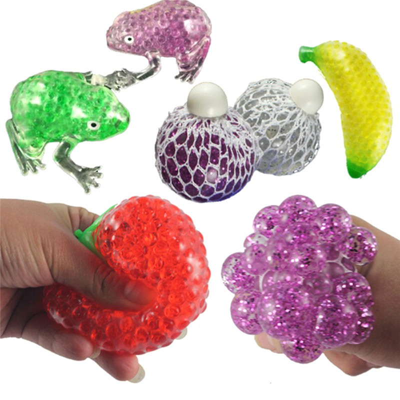 Novelty Stress Fruit Ball Squeeze Frogs Ice Cream Squishy Stress Relief Adult Kids Toy Gift