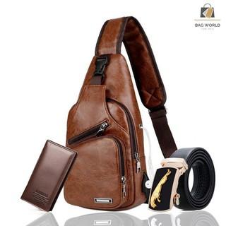 [COMBO] Túi đeo chéo trước ngực nam da pu + Thắt Lưng Ngựa Vàng+ 1 Ví Cầm Tay (TC02+V+D)