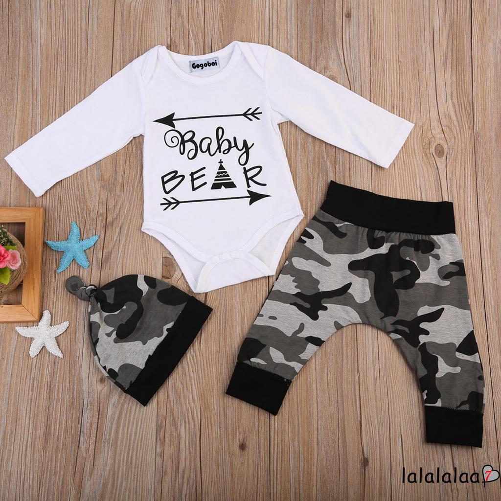 Set áo liền quần + quần dài + mũ họa tiết rằn ri dễ thương cho trẻ sơ sinh