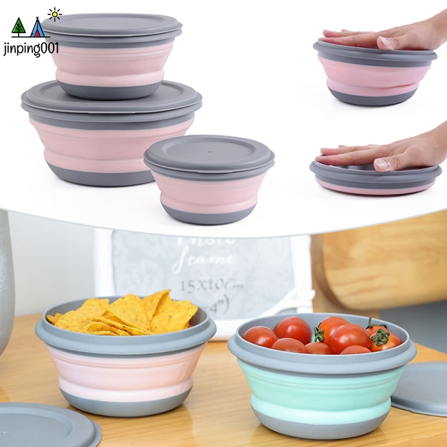3Pcs/Set Portable Outdoor Silicone Folding Bowl Set with Lid Lunch Box