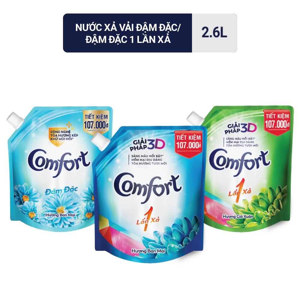 Nước xả vải Comfort đậm đặc 2.6L (Túi)