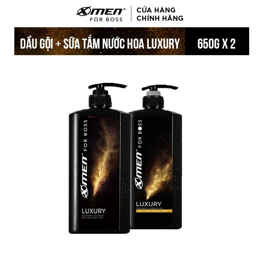 [Mã FMCG60 - 10% đơn 250K] Combo Dầu gội nước hoa 650g+Sữa tắm nước hoa 650g X-Men for Boss Luxury