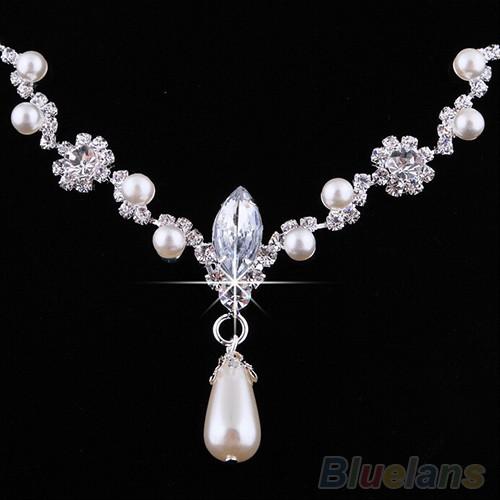 Bộ dây chuyền + đôi khuyên tai đính đá thời trang và ngọc giả hình giọt nước độc đáo cho nữ