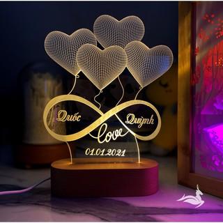 Đèn Ngủ Led 3D, Quà tặng đám cưới | KHẮC CHỮ THEO YÊU CẦU – ĐẾ GỖ