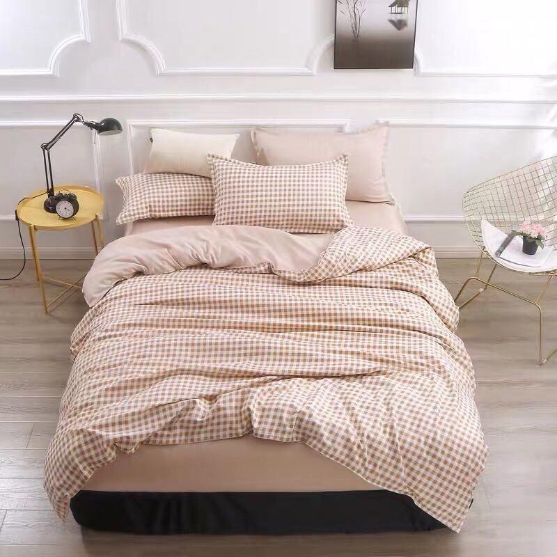 Set Chăn Ga Gối Cotton Poly Hàng Nhập Khẩu Caro màu nâu nhạt trắng nhỏ, mặt  dưới màu nâu nhạt trơn   Shopee Việt Nam