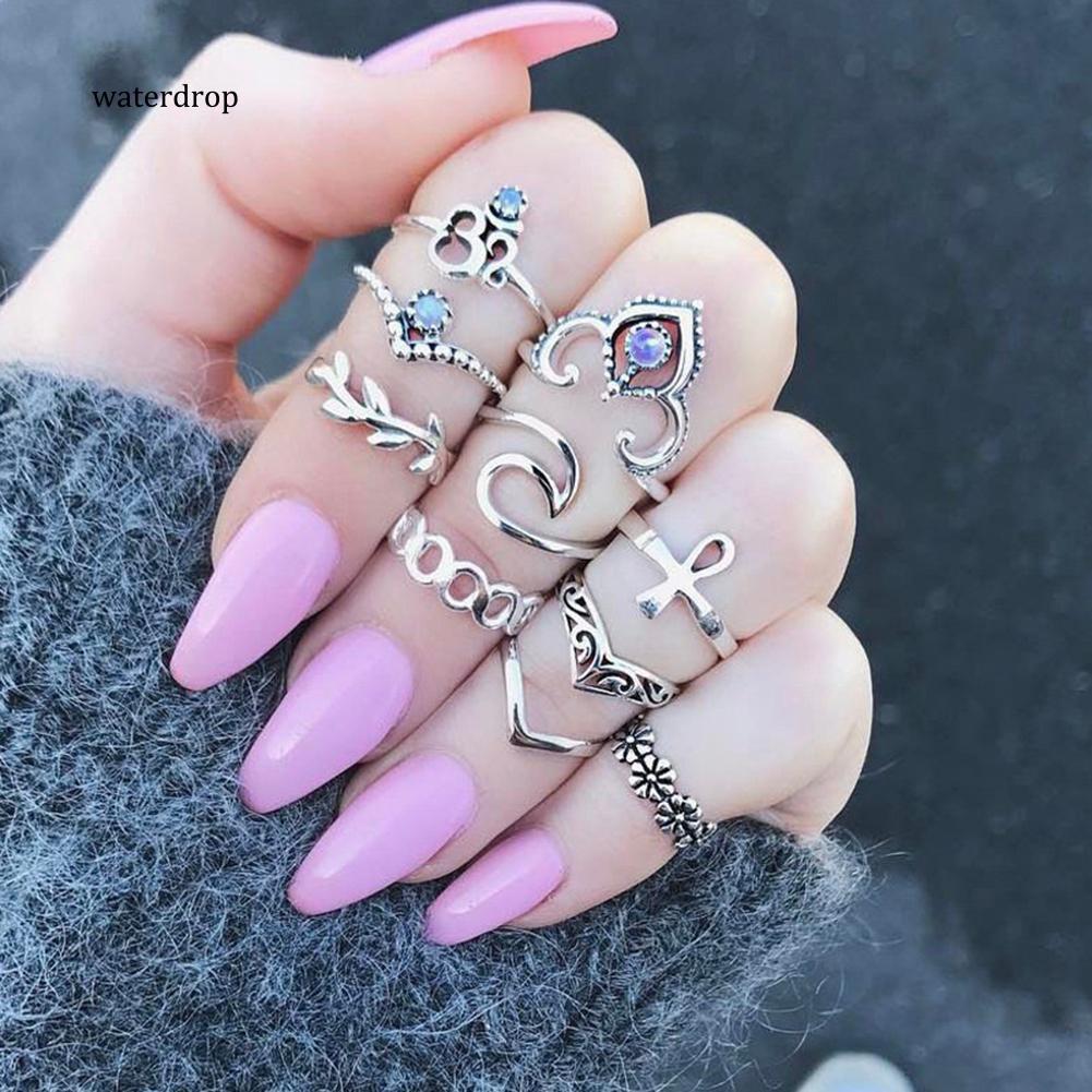 Set 10 nhẫn đeo khớp ngón tay phong cách vintage
