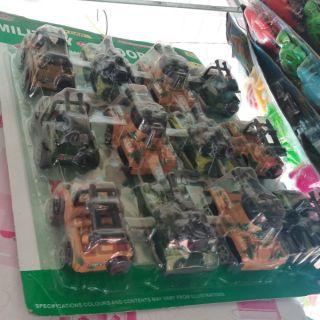 Combo 12 xe đồ chơi quân sự chạy trớn