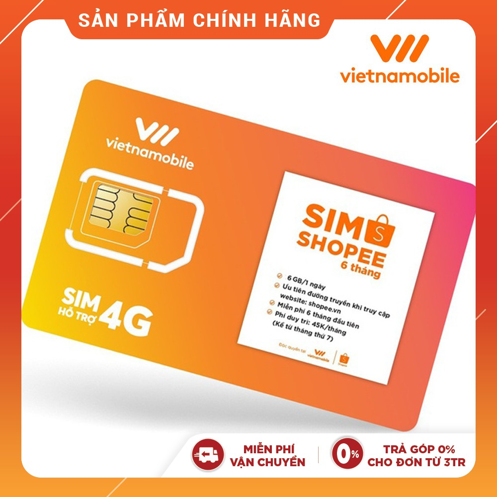 Hình ảnh [Miễn Phí 6 Tháng] Sim Data 6GB/ngày - 180 GB/tháng Độc Quyền VIETNAMOBILE - SHOPEE-0