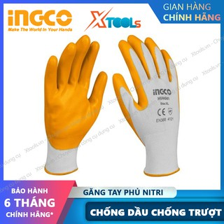 Găng tay bảo hộ chống dầu INGCO size L XL bao tay bảo hộ lao động phủ nitrile chống trơn trượt, dầu mỡ, nhớt, sơn phun