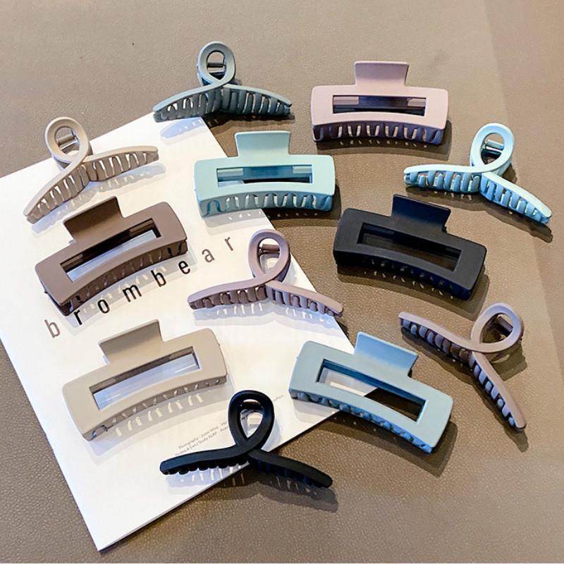 Kẹp tóc nhựa nhám cỡ lớn thiết kế đơn giản phong cách Hàn Quốc  #KT_16881 [ cặp tóc nhám sang trọng ]