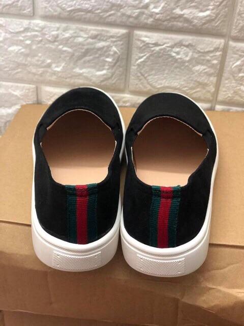 [Kho buôn Giày] Giày slip on da lộn gót kẻ đen full đơn giản dễ đi hàng loại 1