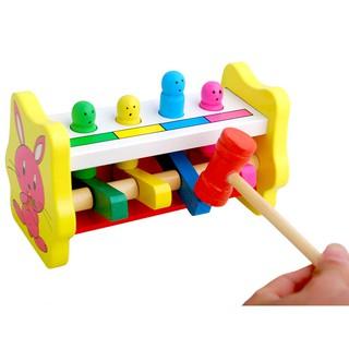 bộ đồ chơi gỗ gõ bay hình thú cho bé phân biệt màu sắc và gia tăng nhanh nhạy