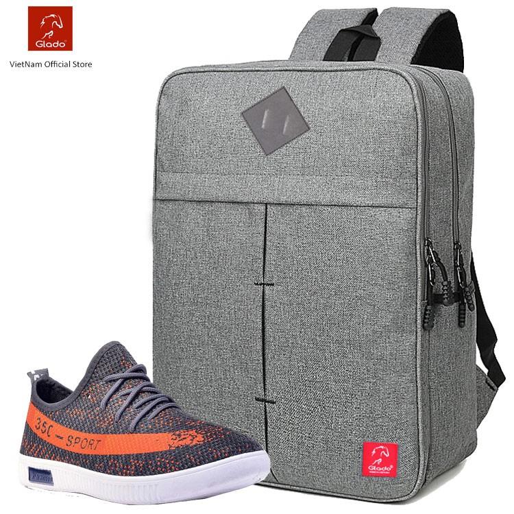 Combo Balo Cylinder BLC005 (Xám) + Giày Sneaker GS070 (Đen)