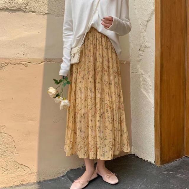 Chân váy hoa nhí vintage dập ly Ulzzang 🌸 CV6622 Hàng Quảng Châu