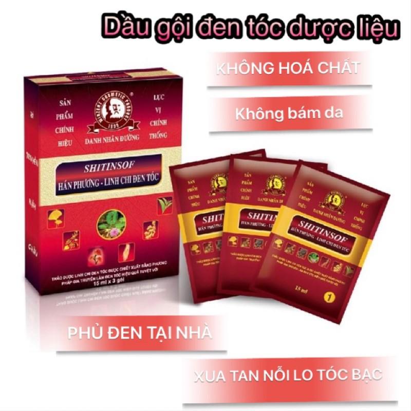 [CHÍNH HÃNG] DẦU GỘI đen tóc Shitinsof Hán Phương Linh Chi. Dầu gội dược liệu (Hộp 3 gói)