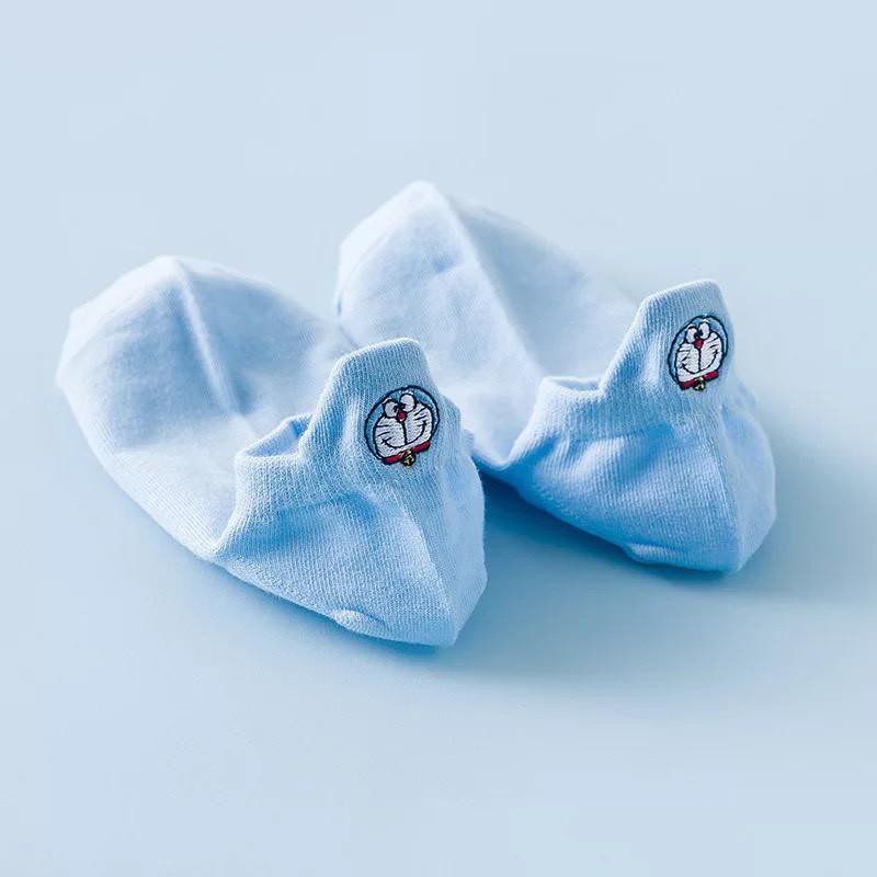 Set 5 đôi tất nữ cổ ngắn gót Doremon xanh cute TN80