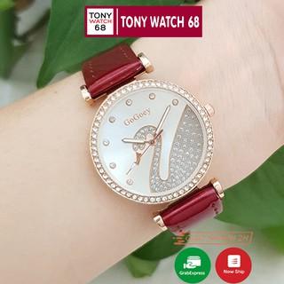 Đồng hồ nữ Gogoey đẹp dây da đỏ mặt ngọc thiên nga chống nước chính hãng Winsley thumbnail