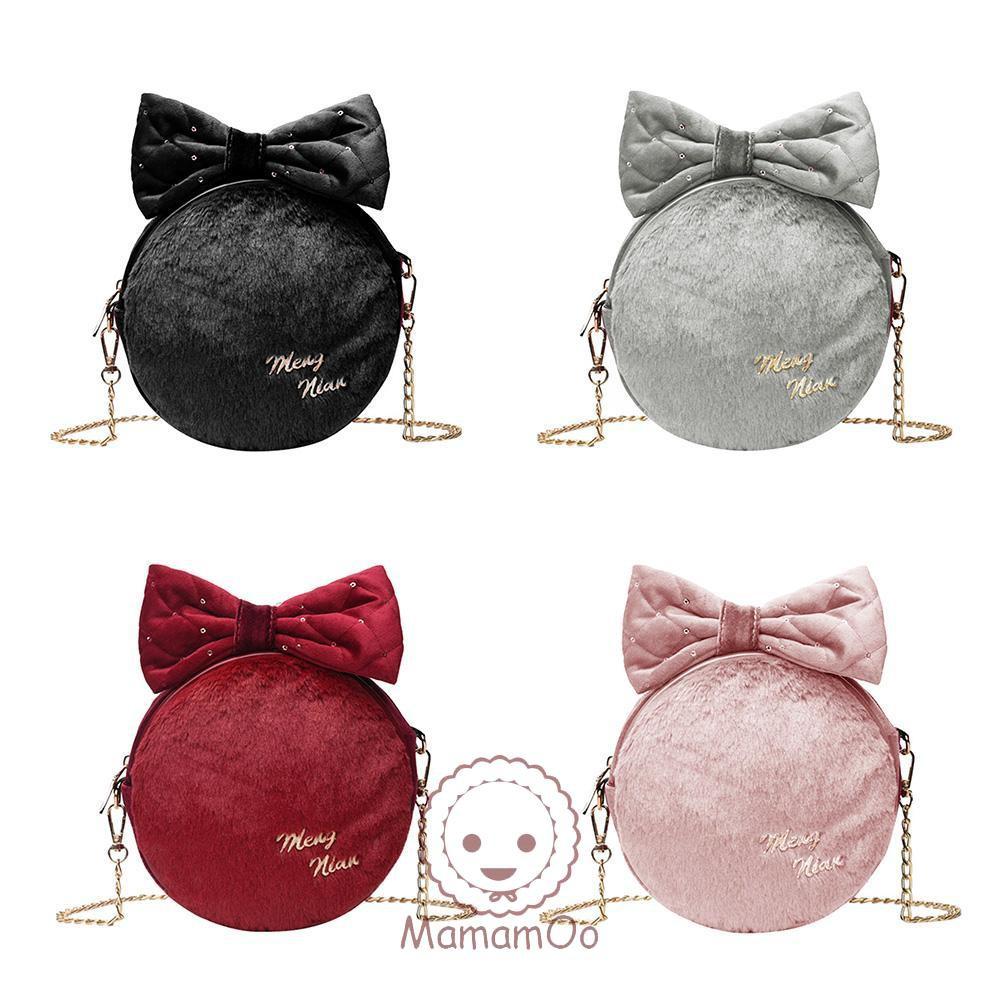 ♥Bowknot Round Bag Soft Plush Women Shoulder Messenger bag Crossbody Bags