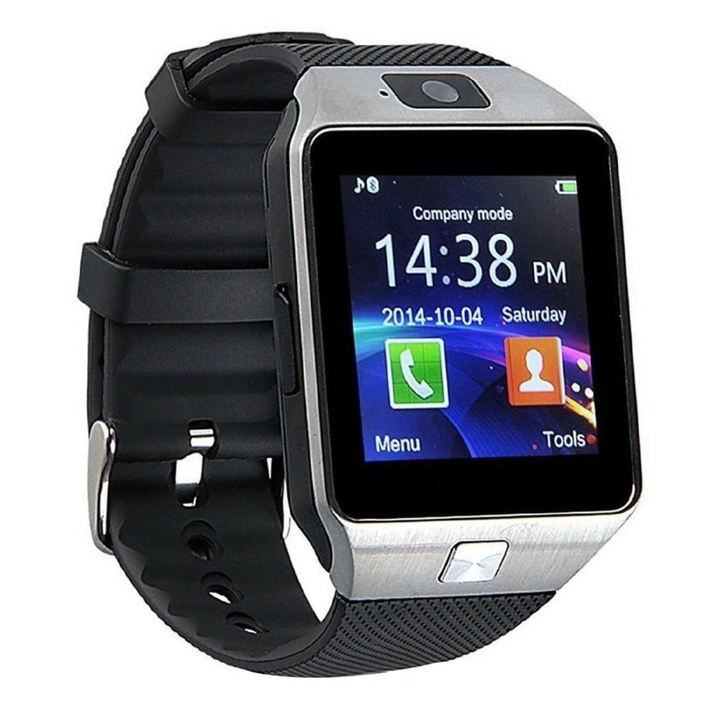 Đồng hồ đeo tay thông minh DZ-09 màu bạc dây đen