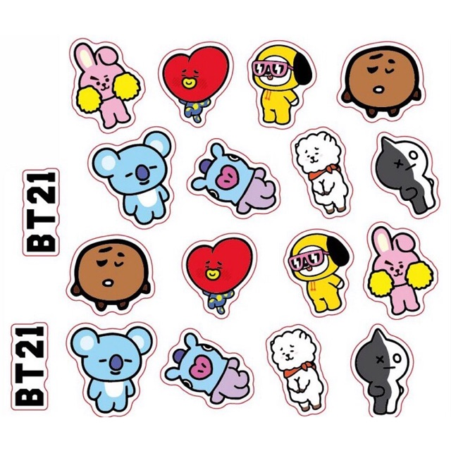 Combo 20 sticker BTS và BT21