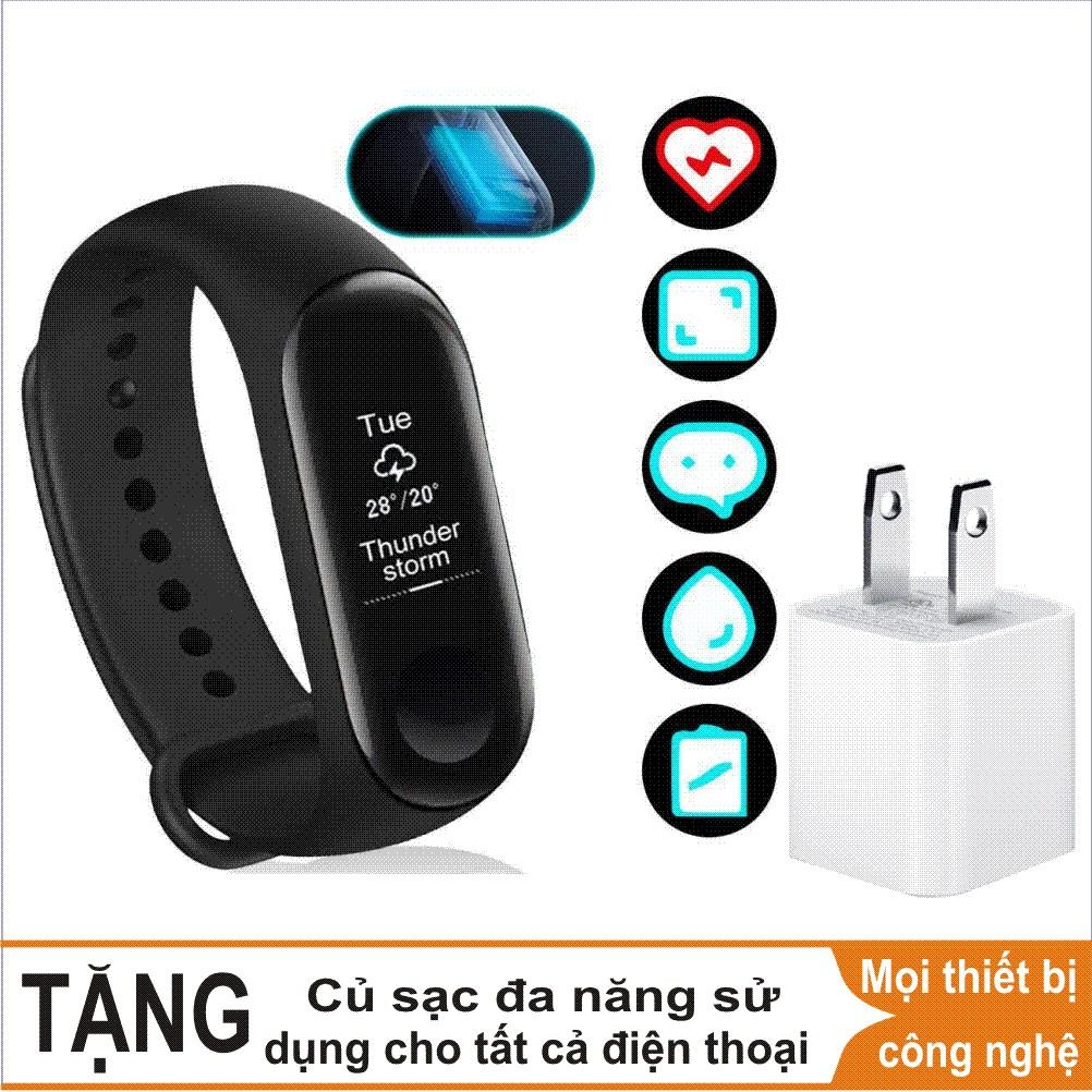 Combo Vòng đeo tay thông minh Xiaomi Mi Band 3, Miband3, Mi band3 (Đen) - Hàng chính hãng + Củ sạc đ