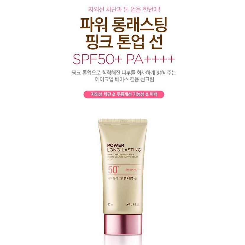 Kem Chống Nắng Nâng Tone Da TheFaceShop Power Long Lasting Pink Tone Up Sun  Cream Spf50+ 50Ml   Shopee Việt Nam