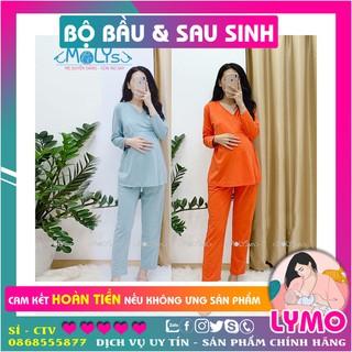 bộ đồ bầu mặc sau sinh vạt chéo cho con bú cotton dài co giãn dễ vận động LYMO