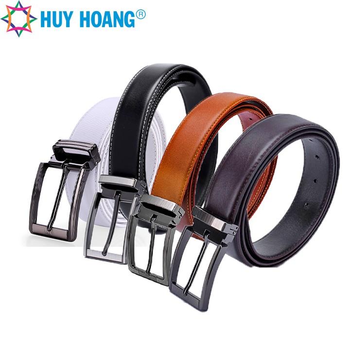 Thắt lưng nam Huy Hoàng viền chỉ màu da bò LS4128, đen LS4129, nâu LS4130, trắng LS4140